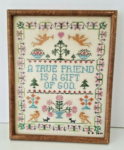 Antique Completed Cross Stitch Sampler Prof Framed Signed 1936 Friend Gift God