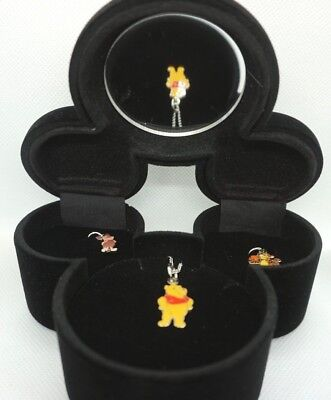 Disney Winnie the Pooh Velvet Jewelry Box Enamel Charms Tigger Piglet Necklace