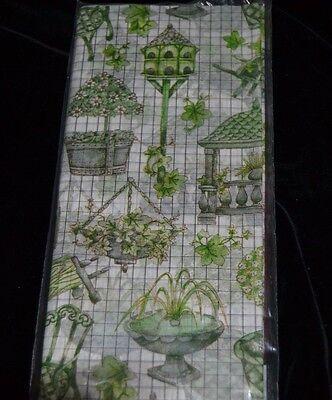 Green Satin Wrap GARDEN FOUNTAIN BIRDHOUSE Gift Wrapping Tissue Paper 10 Sheets