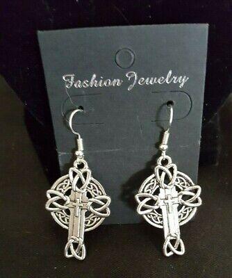 Antique Silver Tone Celtic Cross Earrings 6 styles