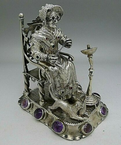 RARE c.1882 Sterling Silver English Dutch LARGE Grandma & Cat Miniature Jewels