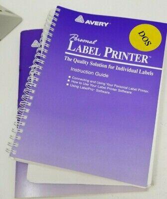 Original Manuals For Avery Personal Label Printer Plp2000
