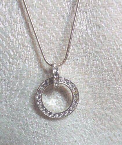Necklace,Circle Pendant, With Clear Stone, Silver tone, by NY, Rope Style Chain