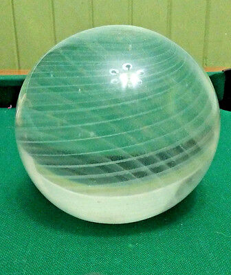 "Vintage Large Round Clear White Swirl Glass Paperweight 5"" Signed"