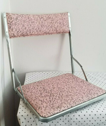 VTG*50s* All American* Folding sportseat* vinyl & aluminum* pink & grey* Kitsch*