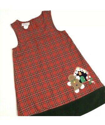 Christmas Dress, Size 6,Red Plaid,Gingerbread Man Applique,Jumper, Samara