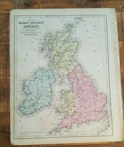 Antique Colored MAP OF BRITAIN & IRELAND - 1872 Mitchell