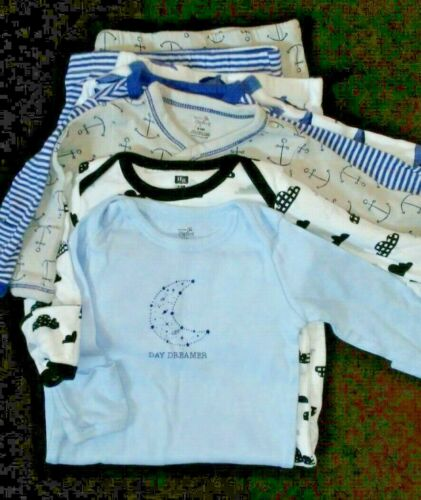 Lot of 5 Baby Boy 0-6 Months Cotton Nightgowns Gowns Pajamas HB & Nature Organic