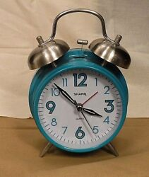 Sharp Teal Metal Alarm Clock Twin Bell Quartz Analog Battery Operated ~TESTED