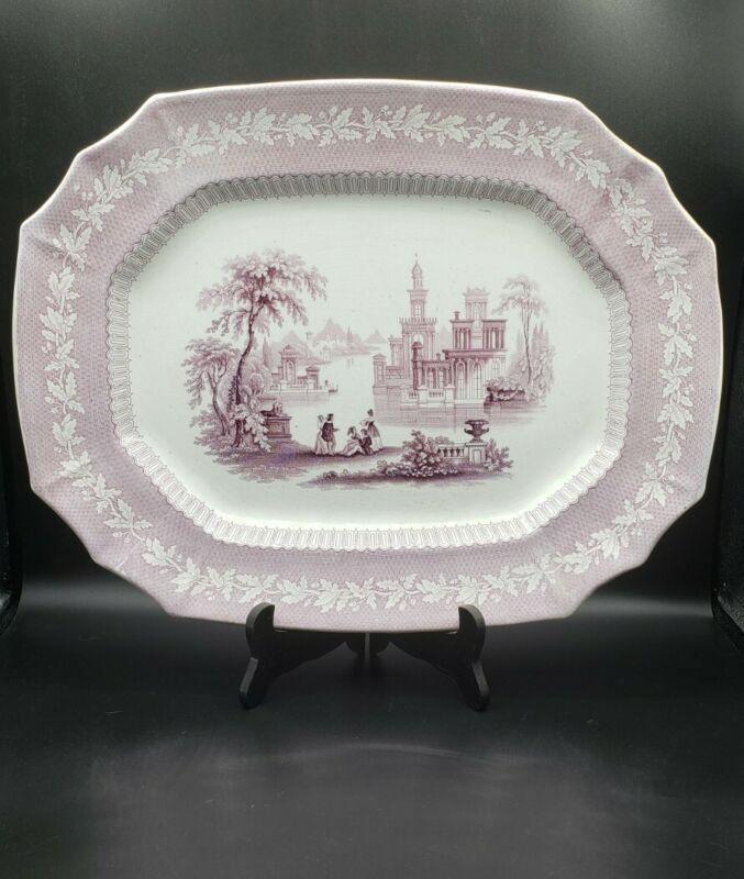 "Jacob Furnival & Co Palmyra Pattern 16.5"" Purple Transferware Platter Circa 1845"