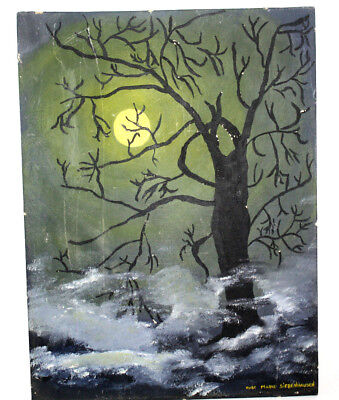 Halloween Painting Spooky Tree Foggy Full Moon Rose Marie Siebenhausen