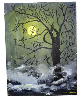 Halloween Painting Spooky Tree Foggy Full Moon Rose Marie Siebenhausen