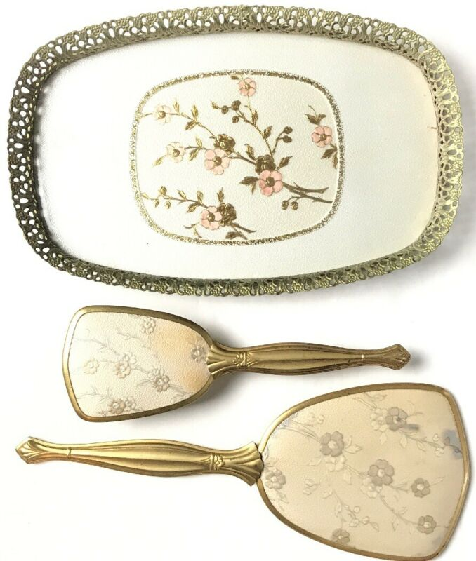 "Vintage Floral Hair Brush And Mirrow Set W/ 12.5x8"" Matching Tray Gold White"