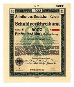 German-Government-uncancelled-5-000-Mark-Bond-1922-complete-with-coupons