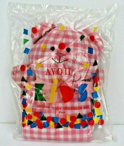 Vintage Avon Gingham Teddy Bear Organizer Bag Pink Baby Girl Decor Nursery New