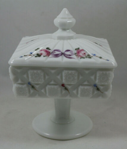 Westmoreland Old Quilt Pattern Rose Milk Glass Lidded Compote Candy Dish