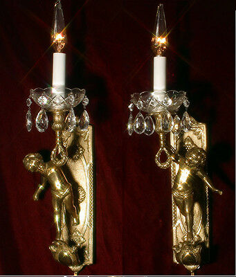 2 Vintage bronze Italy torch cherub Putto wall sconces lamp crystal brass gilt
