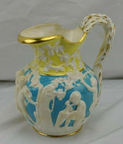 ANTIQUE COPELAND ENGLAND OVINGTON GOLD BLUE YELLOW CHERUBS PITCHER VASE