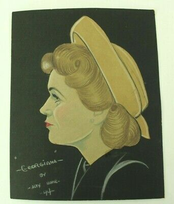 Original Mixed Media Woman in Profile w/Hat 1944 Colored Paper Pencil Alex Horne