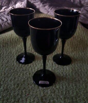 Noritake Ebony Gold Remembrance Black Amethyst Water Goblet Wine Glass set 3 NEW