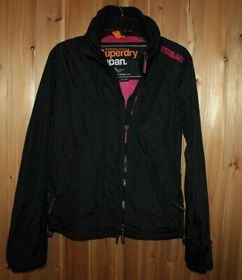 SuperDry Japan women L Zip mesh-lined Jacket Coat Black Windbreaker Triple-Zip