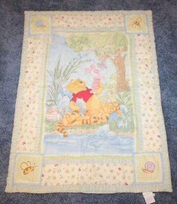 Winnie the Pooh Tigger Piglet Hunny Baby Quilt Blanket Classic Rare Crib 30x42