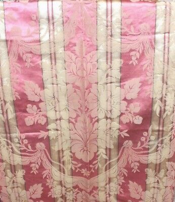 Antique French Elegant 19thC Pink Silk Roses & Ribbons Home Dec Frame Fabric