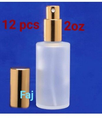12 pcs Refillable atomizer frosted glass perfume bottle with gold spray cap. 2oz