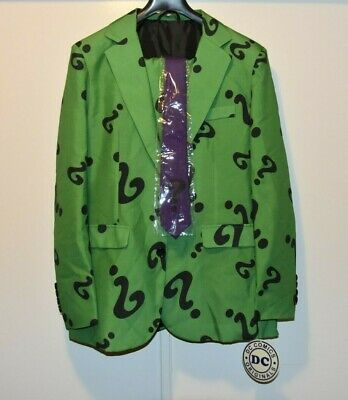 The Riddler Jacket (NEW Bioworld DC Batman's THE RIDDLER Suit Adult MEDIUM Costume pants jacket)