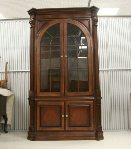 Massive Ethan Allen Newport Collection Flame Mahogany Corner Curio Cabinet