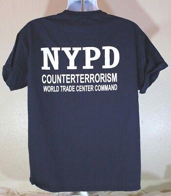 Police NYPD CounterTerrorism Bureau WTC Command 9/11 T shirt L Blue Large Mens