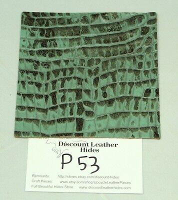 WOW! Fresh Thyme Green CROC Print Craft Leather Piece 4.5