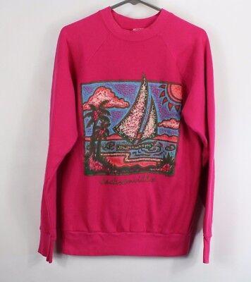 Vintage 80s Mens Large Jacksonville Florida Sailboat Print Sweater Sweatshirt