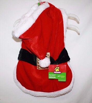 SANTA SUIT MEDIUM DOG Coat Costume Top Paw Pet Holiday Hood Outfit Red Gold (Santa Paws Dog Coat)