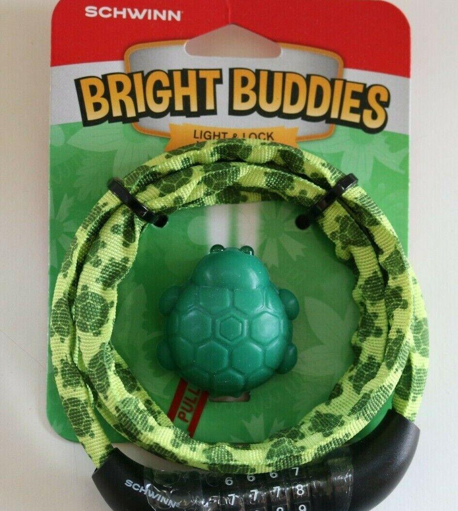 Schwinn Bright Buddies 6mm Steel Cable Bike Lock Turtle Fabr