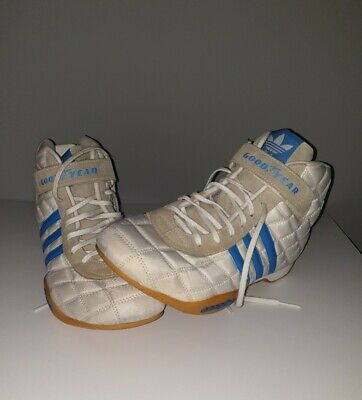 Mens Vintage Adidas Goodyear Monaco Hi Tops Boots Size UK 8 White And Blue