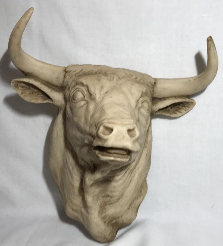 RARE BULL HEAD Wall Hanging Cow Plaque Toro Bust Spanish Decor Rustic Ranch Farm