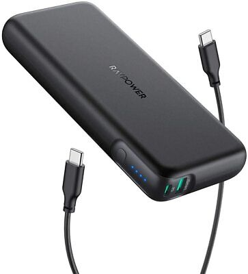 Portable Charger RAVPower 20000mAh 60W PD 3.0 USB C Power Bank 2-Port Battery