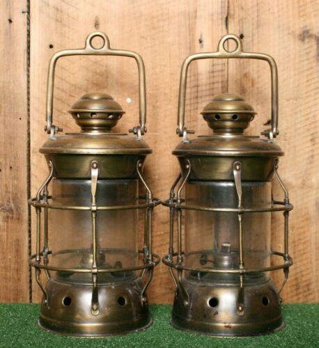 Lot of 2 Vintage Brass Oil Lantern Ship Deck Lamp Nautical Lights