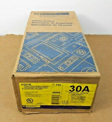 1 Nib Square D H321n Fusible Disconnect Switch 30a 30 Amp 3p 240v Neutral Nema 1