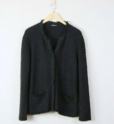 J. McLaughlin Black Blue Fringe Cardigan Sweater XL