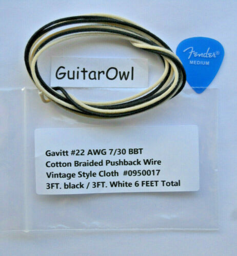 GAVITT Cloth Push Back Guitar Wire 22 AWG 7/30 BBT Tinned  6 Feet - 3 Blk -3 Wht