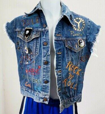 Western Wear Vest Hand Painted Denim Jacket with enamel pins Bassnectar 00 kids](Kids Western Wear)