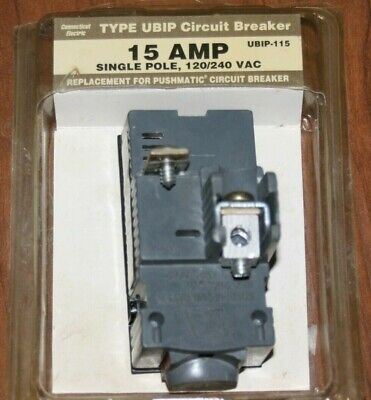 New Connecticut Electric Ubip-115 Pushmatic Circuit Breaker 15 Amp Single Pole