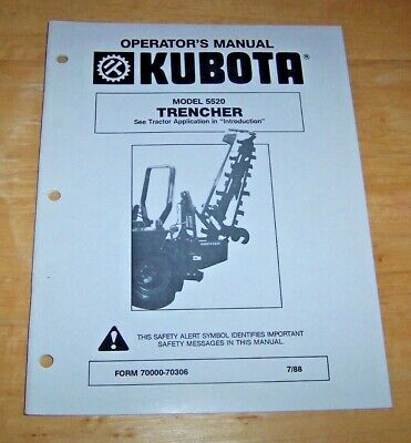 Kubota Operators Manual Model 5520 Trencher Form 70000-70306 788 Vg Cond.