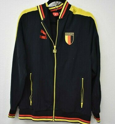 PUMA GERMANY Black Zipper Jacket Track Coat EMBROIDERED Patch Large L