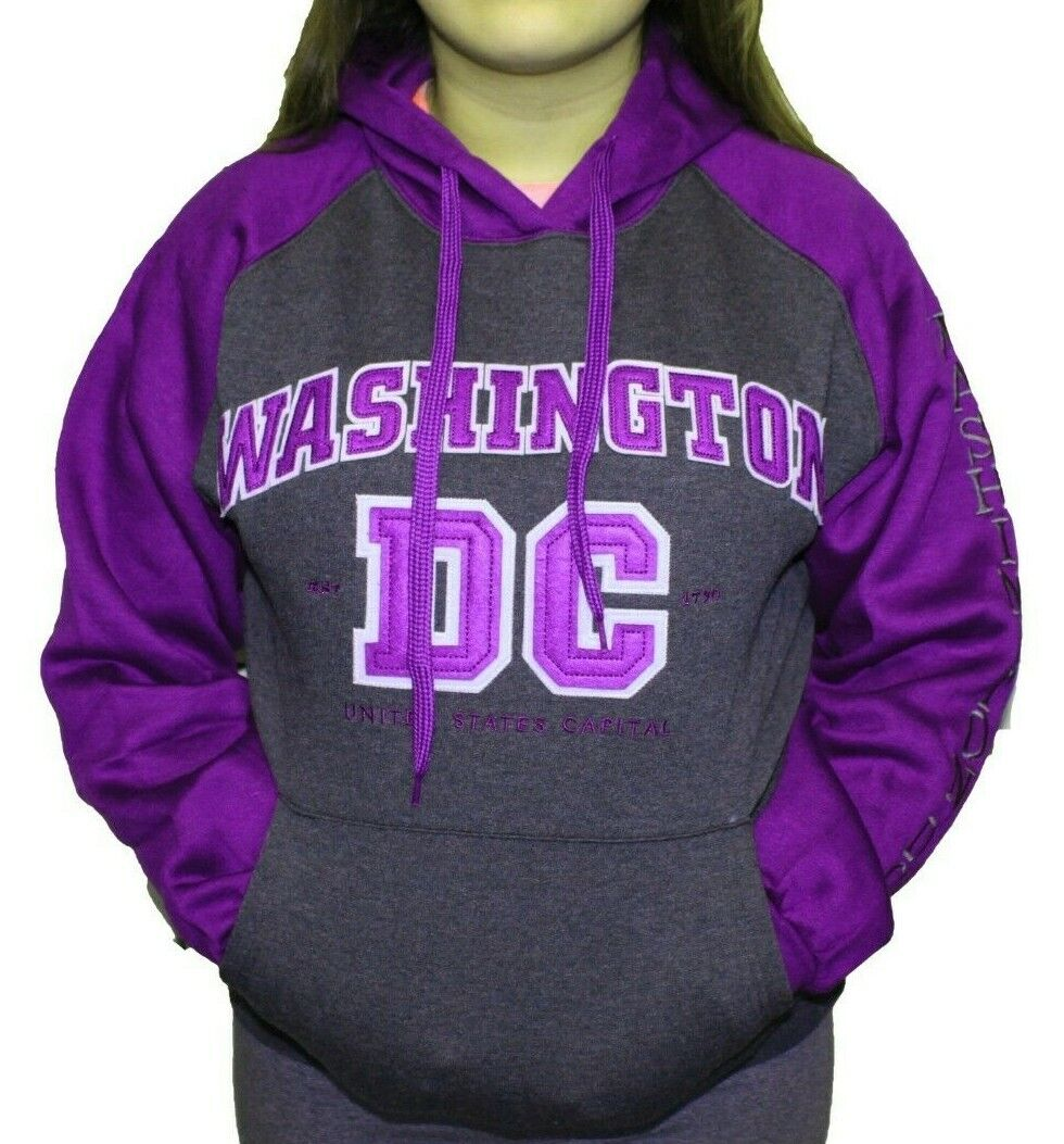 Washington DC Charcoal Purple NEON Hoodie Sweatshirt Embroidered Letters Unisex