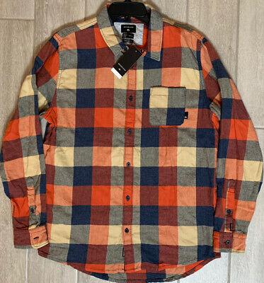 NEW Quiksilver Men's Size Medium Regular Fit Shirt Motherfly Flannel Long Sleeve