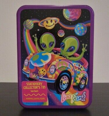 Vintage Rare Lisa Frank Zoomer And Zorbit Alien Stationary Collector Tin, Full!
