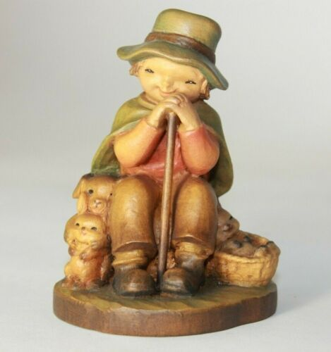Anri Carved Wood Figurine THE REST Boy Sitting with Rabbits Puppy Dog Figurine